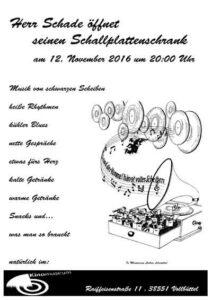 """Plakat zur Veranstaltung """"Herr Schade öffnet seinen Plattenschrank"""" im Kinomuseum Vollbüttel 2016"""